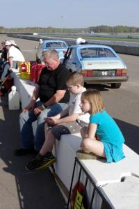 Tim Winker with his nephew and niece on the pit wall.