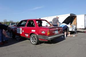Cheap Shot Racing BMW 325is after the race.