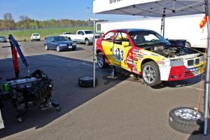 Tubby Butterman Racing 1 BMW 325i with a heart transplant ready after Saturday's race.