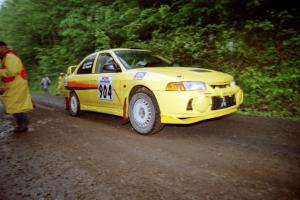 John Drislane / Declan Hegarty Mitsubishi Lancer Evo IV at the start of the rainy Friday practice stage.