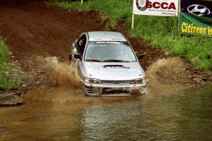 Russ Hodges / Mark Buskirk Subaru WRX at the flying finish of Stony Crossing, SS1.