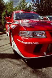 Rhys Millen / Josh Jacquot Mitsubishi Lancer Evo 6.5 prior to the start of the event.