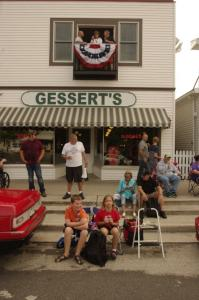 Awaiting the start of the parade into town in front of Gessert's Ice Cream.