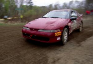 Dave LaFavor / Bob LaFavor drift their Eagle Talon through a 90-left on SS2.