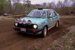 Larry Warrington / Steffen Rampelberg drift their VW Jetta through a 90-left on SS2.