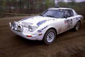 Bob Cutler / John Atsma drift their Mazda RX-7 through a 90-left on SS2.