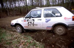 Doug Davenport / Rob Bohn get close at a 90-right on SS2 in their VW Golf.