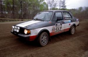 Brian Dondlinger / Mike Christopherson at the apex of a 90-left in their VW Jetta.