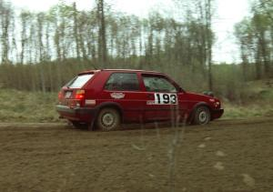 Karl Biewald / Ted Weidman come out of a 90-left on SS2 in their VW GTI.