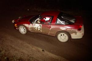 Dave LaFavor / Bob LaFavor drift their Eagle Talon through a sweeper at night.