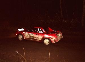 Steve Irwin	/ Phil Schmidt at speed at night in their Toyota MR2.