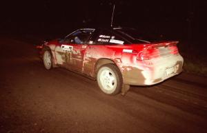 Adam Moren / Mark Utecht at speed at night in their Mitsubishi Eclipse GSX.