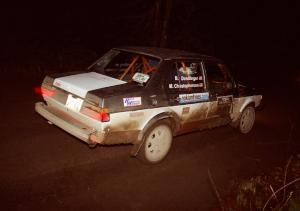 Brian Dondlinger / Mike Christopherson at speed at night in their VW Jetta.