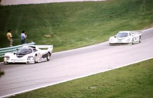 Jim Busby / Jochen Mass Porsche 962 leads the Brian Redman / Hurley Haywood Jaguar XJR-5