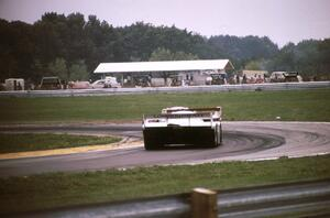 Drake Olson / Bobby Rahal - Porsche 962 is chased by the Al Holbert / Derek Bell - Porsche 962 through turn 8.