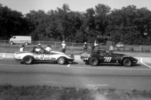 Rick Stark's (#17) and Babe Headley's (#78) Chevy Corvettes