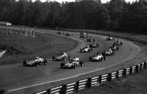 Formula Vees line up through turn nine before the bridge.