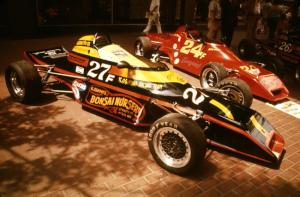Three Tiga Formula Fords on display on the Nicollet Mall days before the races.