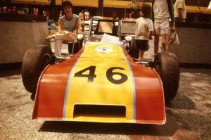 Ted Witcoff's Caldwell D-9 on display on the Nicollet Mall days before the races.