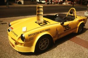 Dean Johnson's G-Prod. Triumph Spitfire on display on the Nicollet Mall days before the races.