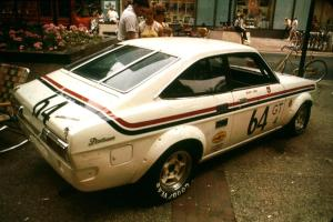 Jerry Orr's GT-4 Datsun 1200 on display on the Nicollet Mall days before the races.