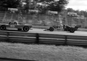 Bruce Clark's Lola T-560 Formula Atlantic about to pass Don Braaten's Lola T-492 Sports 2000