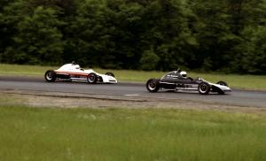 Herb Miller's Crossle 35F leads Gene Anderson's similar car through corner three.