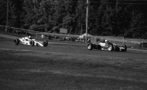 Michael Andretti's Lola T-640 leads Bill McGehee's Crossle 50F during Formula Ford practice.