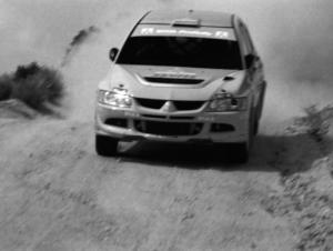 David Higgins / Daniel Barritt Mitsubishi Lancer Evo 8 on the practice stage