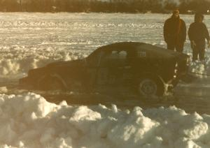 Pete Conners's SAAB Sonnet II two-stroke started to break through the ice in the pits. It was freed okay.