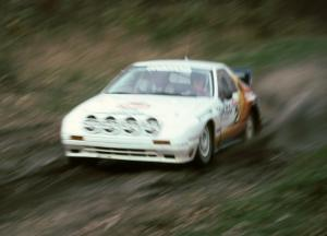 Rod Millen / Harry Ward blast down SS2 in their Open class Mazda RX-7.
