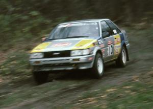 Richey Watanabe / Howie Watanabe blast down SS2 in their Gr. A Toyota Corolla GTS.