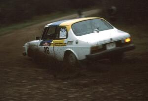 The Rick Corwine / Dave Somerfleck SAAB 99 prepares for a right-hander at the first spectator point.