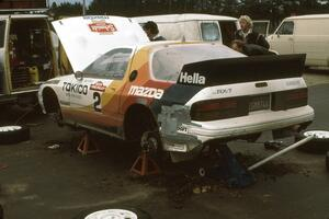 Rod Millen / Harry Ward at afternoon service in Walker in their Open class Mazda RX-7.