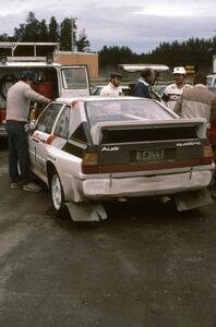 John Buffum/Tom Grimshaw's Audi Sport Quattro at service. Note a young Paul Choinere in the Michelin suit talking to JB.