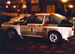 The winners: John Buffum / Tom Grimshaw Audi Sport Quattro S2 entered in the main dining area before the banquet.