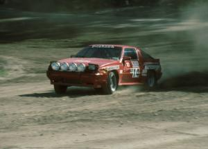 David Lapham / Susan Ferretti Mitsubishi Starion slides through the final corner of SS1.
