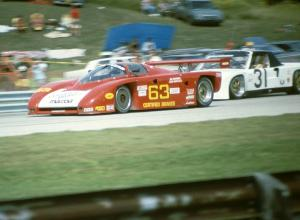 Jim Downing / John Maffucci Argo JM19/Mazda (Lights) passes the Mark Altman / Gary Altman Porsche 914/6 (GTU)