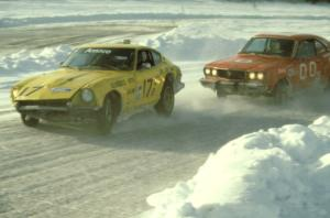 Len Jackson / Bob Brost Datsun 240Z is chased by the Mike Rappa / Tim Rappa Mazda RX-3