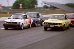 Randy Jokela's ITC Toyota Starlet, Dave Brown's ITB VW Golf and Greg Youngdahl's ITB Opel Manta