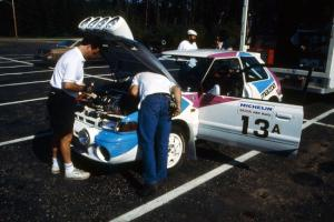 Peter Moodie came to Ojibwe from Jamaica driving a Mazda 323GTR and was teamed with navigator Mike Fennell.
