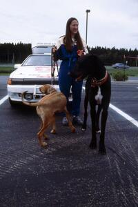Amity Trowbridge walks her dogs in front of the Toyota Celica All-trac she and Janice Damitio shared.