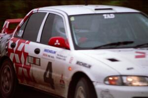 The Henry Joy IV / Chris Griffin Mitsubishi Lancer Evo 2 was a right-hand drive car seen here at the practice stage.