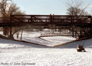 Bridges over the creeks leading into Lake Phalen. Note the snowmobile IN the city of St. Paul. Can't do that anymore...haha