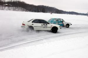 Mike Ehleringer / Dick Nordby / Bill Nelson VW Rabbit and Chris Peterson / Dave McGovern Subaru Impreza battle for the lead