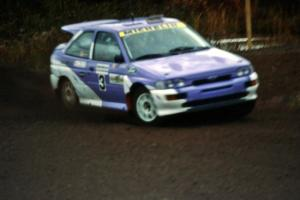 Carl Merrill / John Bellefleur shake down the Ford Escort Cosworth RS during the practice stage.