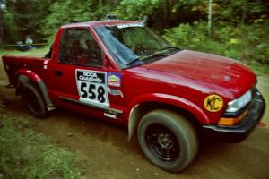 Jim Cox / Richard Donovan Chevy S-10 at a 90-right on SS13, Indian Creek.