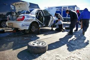 Jonathan Bottoms / Carolyn Bosley Subaru WRX gets last minute prep work in Lewiston prior to the start of the rally.