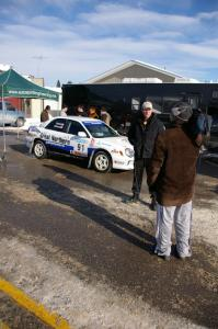 Jonathan Bottoms is interviewed in front of his Subaru WRX in Lewiston prior to the start. Carolyn Bosley was his navigator.