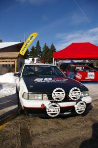 Joel Sanford / Jeff Hribar Chevy Cavalier on display in Lewiston prior to the start of the rally.